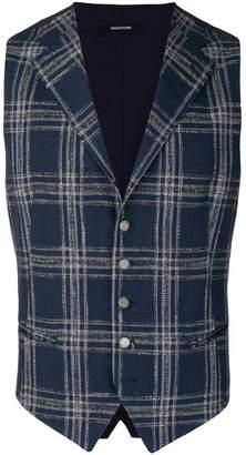 Tagliatore checked button waistcoat