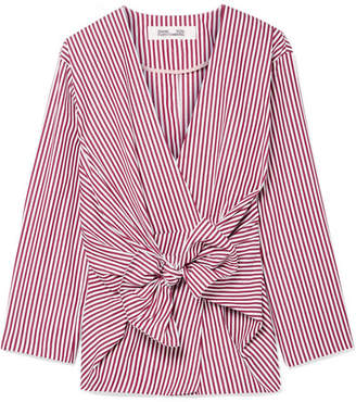 Diane von Furstenberg Tie-front Striped Cotton-poplin Shirt - Burgundy