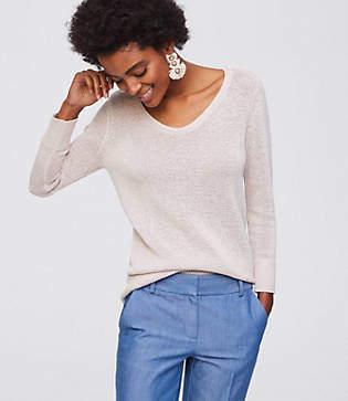 LOFT Textural V-Neck Sweater