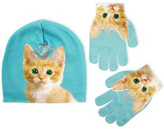 ABG Accessories Pug or Kitty Design Beanie and Gloves Cold Weather Set, Little Girls, Age 4-7
