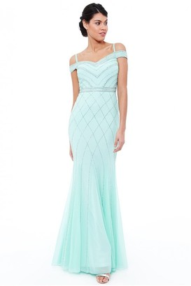 Goddiva Mint Off the Shoulder Embroidered Sequin Maxi Dress