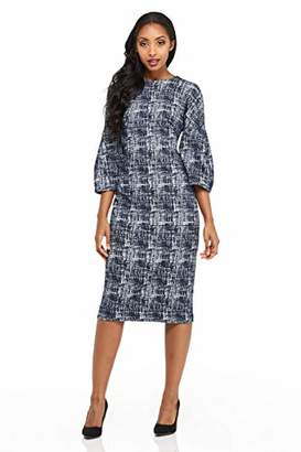 Maggy London Women's Etched Abstract Texture Long Sleeve Sheath