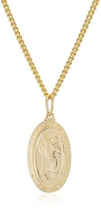 Men's 14k Gold Filled Oval Saint Christopher Medal with Gold Plated Stainless Steel Chain Pendant Necklace