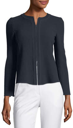 Emporio Armani Zip-Front Long-Sleeve Pleated-Back Knit Jacket