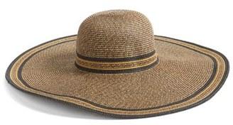 Women's Hinge Stripe Floppy Brim Sun Hat - Brown $39 thestylecure.com