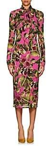 Dolce & Gabbana Women's Fig-Print Stretch-Silk Tieneck Dress - Pink