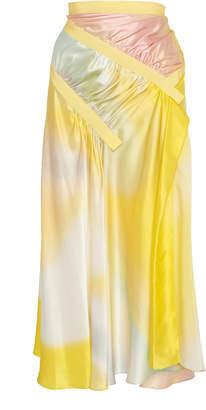 CHRISTOPHER ESBER Ruched Grosgrain-Trimmed Silk-Satin Midi Skirt Size: