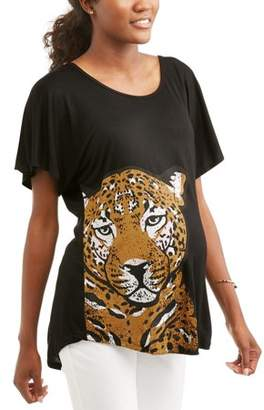 Generic Women's Short Sleeve Leopard Graphic Swing T-Shirt