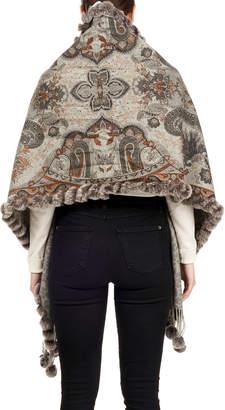 Gorski Double-Face Snowtop Wool Stole w/ Rabbit Fur Pompoms, Gray Pattern