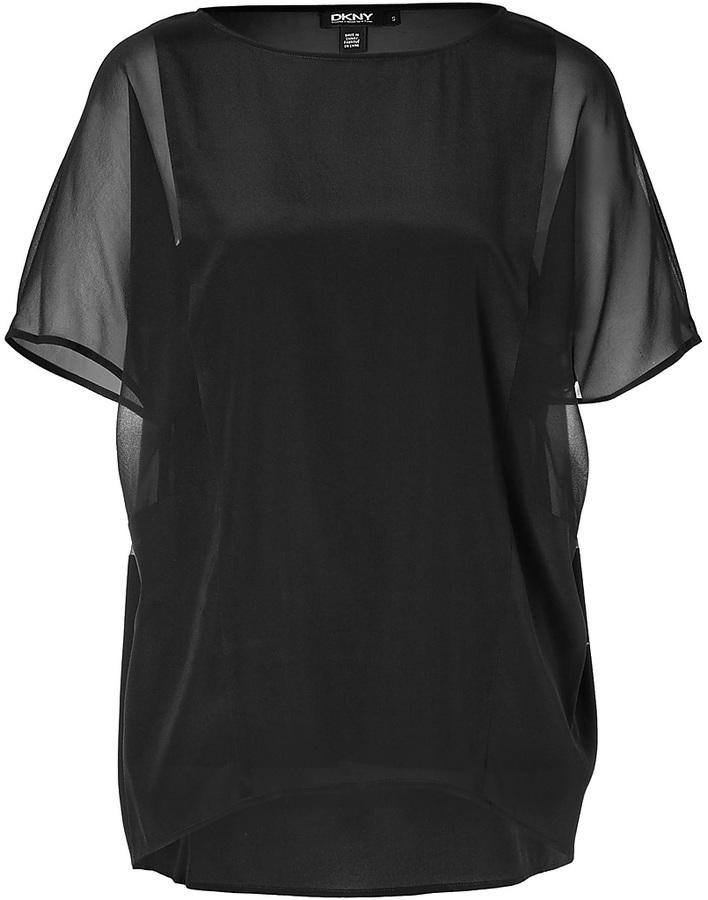 DKNY Silk Top in Black
