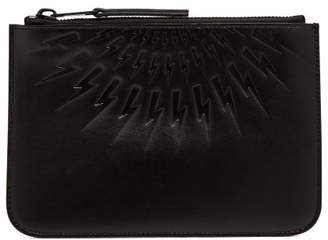 Neil Barrett Thunderbolt Debossed Leather Pouch - Mens - Black
