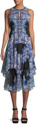 Nanette Lepore Canary Tiered Dress w/ Keyhole Cutouts