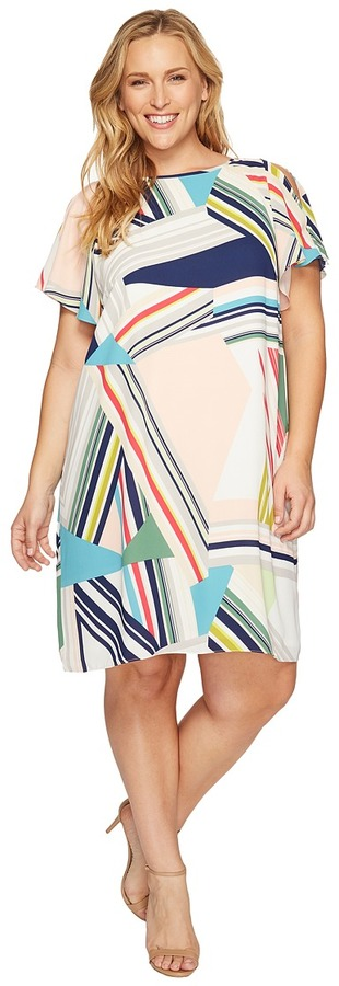 Adrianna Papell Adrianna Papell - Plus Size Striped Maze Printed Trapeze Cold Shoulder Dress Women's Dress
