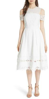 Ted Baker Structured Lace Cold Shoulder Midi Dress