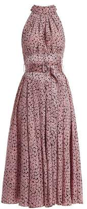 Diane von Furstenberg High Neck Silk Dress - Womens - Pink Print