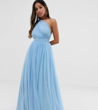 6eb84946512 Asos DESIGN Petite Tulle One Shoulder Maxi Dress
