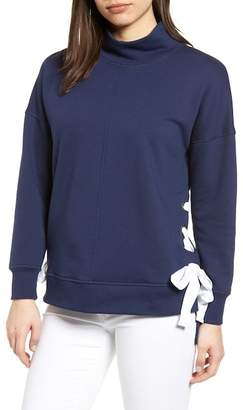 Gibson Side Tie High Neck Sweatshirt (Regular & Petite)