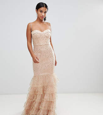 Jarlo Petite glitter star tulle maxi dress with basque top and ruffle hem in pink