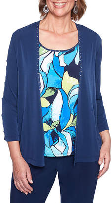 Alfred Dunner Royal Street 3/4 Sleeve Layered Top