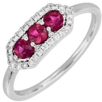Bony Levy 18K White Gold Prong Set Ruby & Pave Diamond Halo Geo Ring - Size 6.5