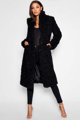 boohoo Tall Shaggy Faux Fur Coat