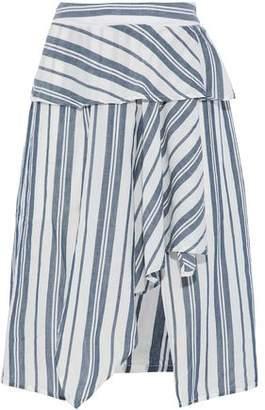 Walter W118 By Baker Gabrielle Asymmetric Striped Cotton-Gauze Skirt