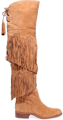Sam Edelman - Jericho Fringed Suede Over-the-knee Boots - Tan $325 thestylecure.com