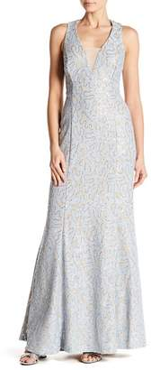 Marina Cutout Back Embellished Lace Gown