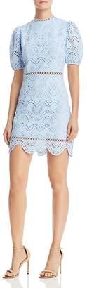 Aqua Puff-Sleeve Eyelet Dress - 100% Exclusive