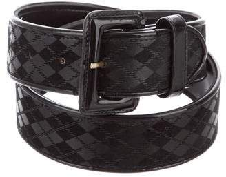 Christian Dior Leather Argyle Belt