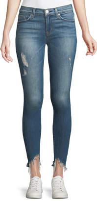 Hudson Nico Mid-Rise Skinny Jeans w/ Raw Zip Hem