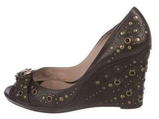 Oscar de la Renta Oscar by Leather Studded Wedges