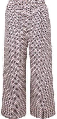 Fendi Cropped Printed Silk-charmeuse Pants - Pink