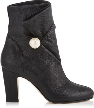 Jimmy Choo BETHANIE 85 Black Grainy Leather Booties with Pearl Detailing