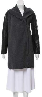 Vince Wool Leather-Trimmed Coat