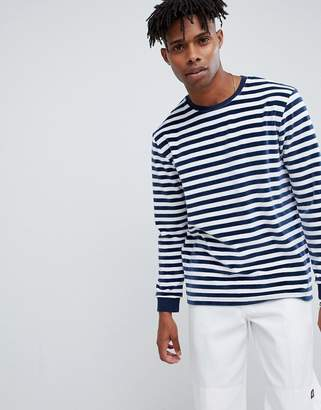 0def37b3 Asos Design DESIGN relaxed velour stripe long sleeve t-shirt with contrast  rib in navy