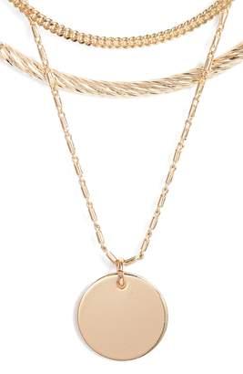 Halogen Short Disc Layer Pendant Necklace