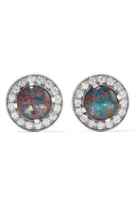 Andrea Fohrman 18-karat White Gold, Opal And Diamond Earrings