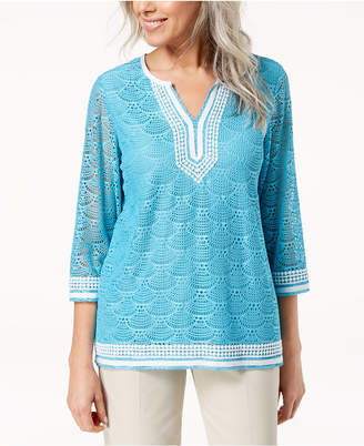 Alfred Dunner Embroidered Split-Neck Lace Tunic