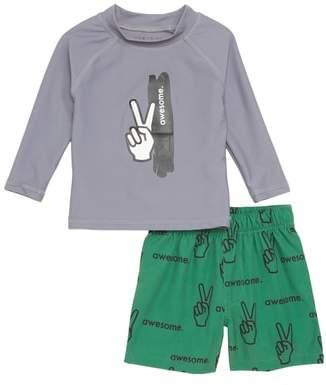 TINY TRIBE Boys are Awesome Two-Piece Rashguard Swimsuit