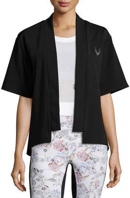 Lucas Hugh Open-Front Short-Sleeve Bolero Sport Jacket, Black