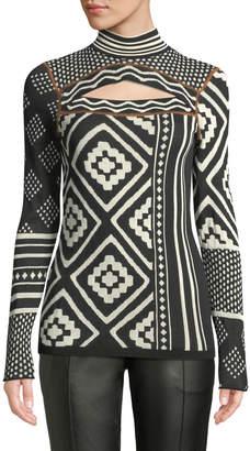 Proenza Schouler Sheer Mixed-Jacquard Knit Turtleneck Sweater w/ Cutout Detail