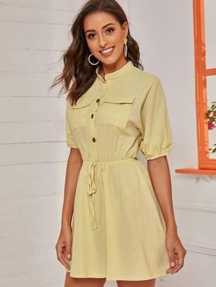 Shein Half Button Knot Front Pocket Shirt Dress