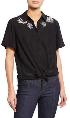 Cinq à Sept Bridget Embroidered Button-Front Silk Top