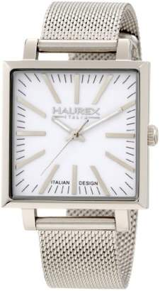 Haurex Italy Women's 2A375DWW Leaf Lady Square White Mesh Band Watch