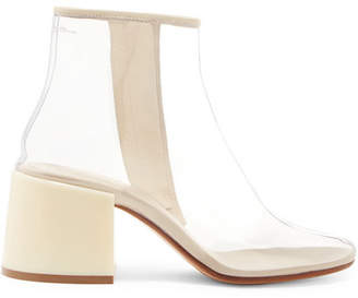 MM6 MAISON MARGIELA Leather-trimmed Pvc Ankle Boots - Off-white
