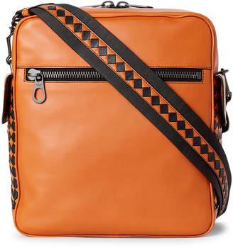 Bottega Veneta Orange & Black Leather Pilot Messenger Bag