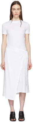 Rosetta Getty White Apron Wrap T-Shirt Dress