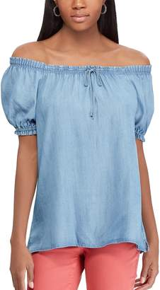 Chaps Women's Off-the-Shoulder Chambray Top