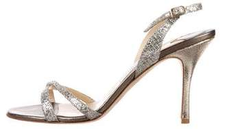 Jimmy Choo Glitter Multi-Strap Sandals